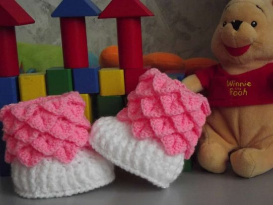 Crocodile Crochet Stitch Booties Free Pattern