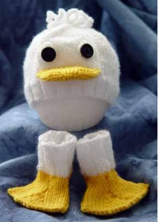 Duck Socks and Hat Free Knitting Pattern