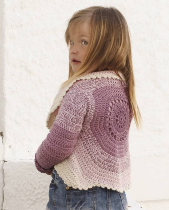 Girls Circular Crochet Cardigan Free Pattern