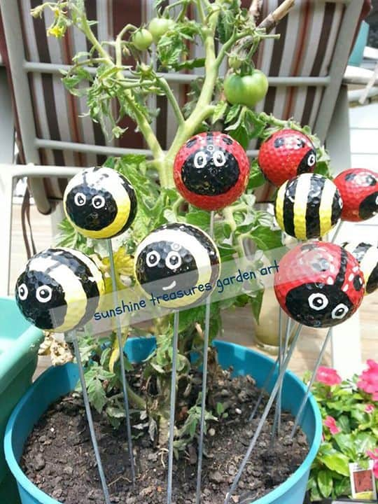 Golf Ball Ladybugs and Bumble Bees on Garden Stakes
