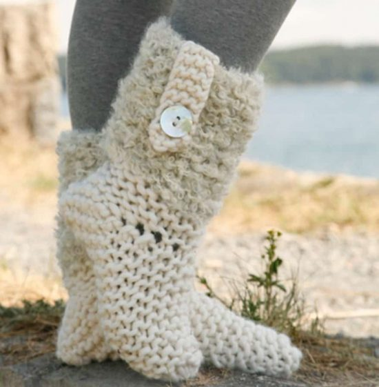 Knited Sock Boots Free Pattern