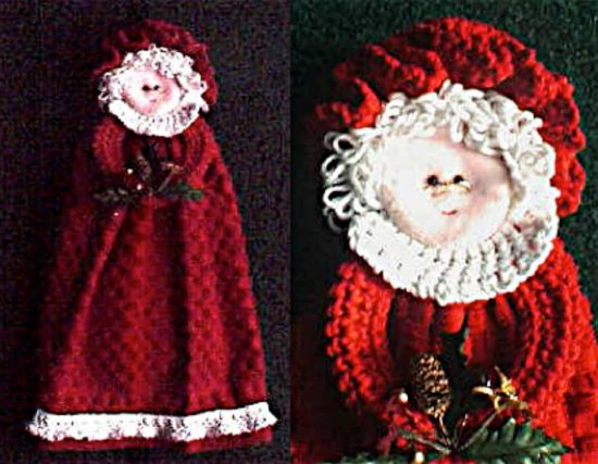 Mrs Santa Towel Ring FREE Crochet Pattern