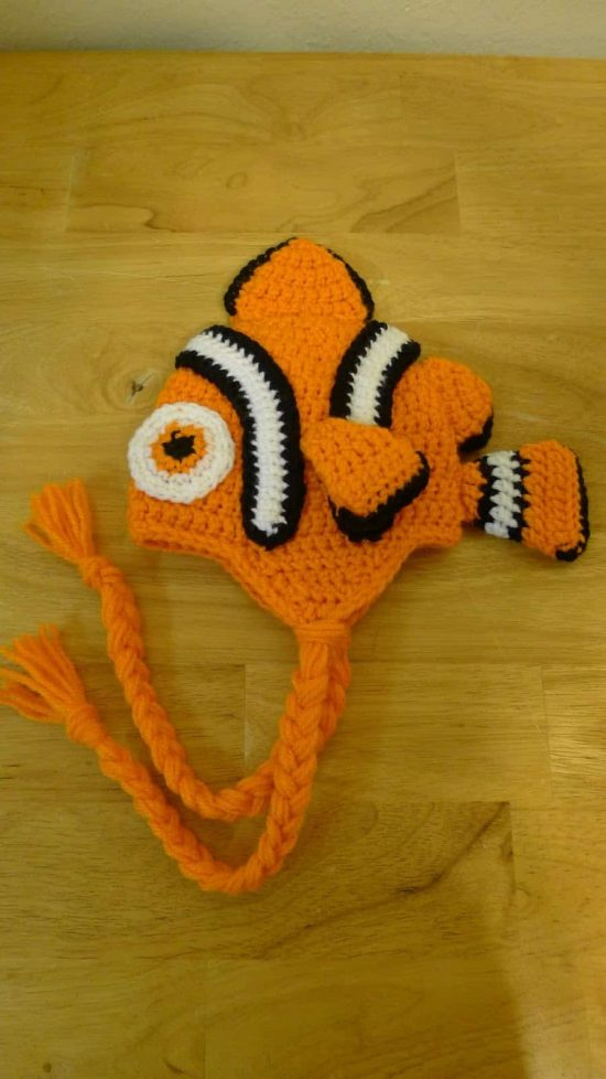 Nemo Crochet Hat with Braids Free Pattern