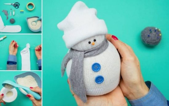 No Sew Sock Snowman
