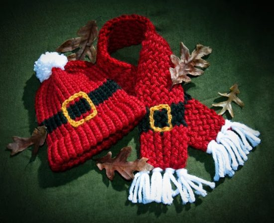 Santa Hat and Scarf Loom Knitting Free Pattern