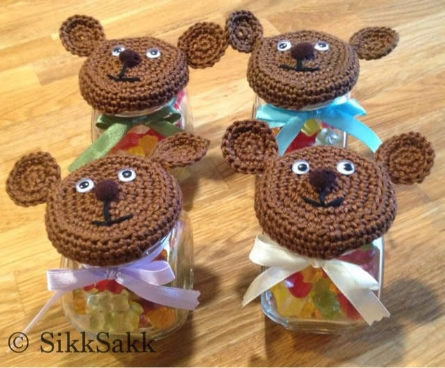 Teddy Bear Jar Lid Free Crochet Pattern