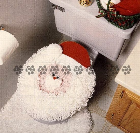 Vintage Crochet Pattern to make A Mad Santa Claus Christmas Lavatory Seat Cover