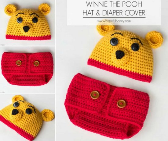 Winne Pooh Hat and Diaper Cover Free Pattern