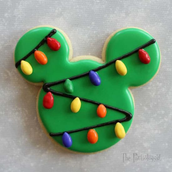Christmas Lights Mickey Mouse Cookie