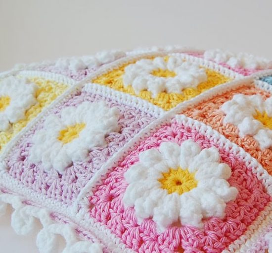 Crochet Daisy Pillow Granny Square Free Pattern