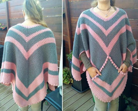 Crochet Poncho with Pocket Free Pattern