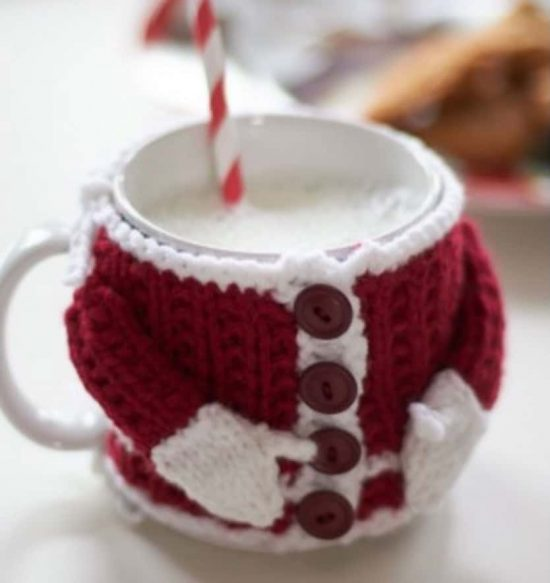 Knitted Santa Suit Coffee Cup Cozy Free Pattern