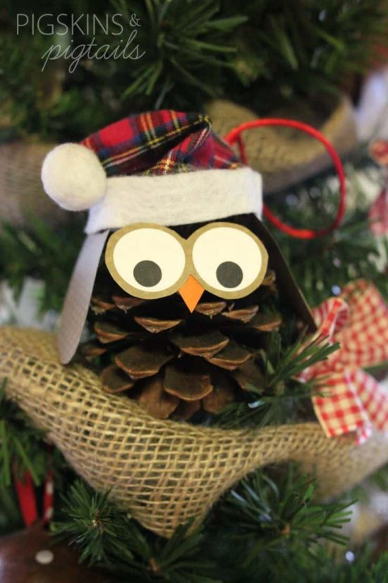 Owl Christmas Pine Cone Ornament