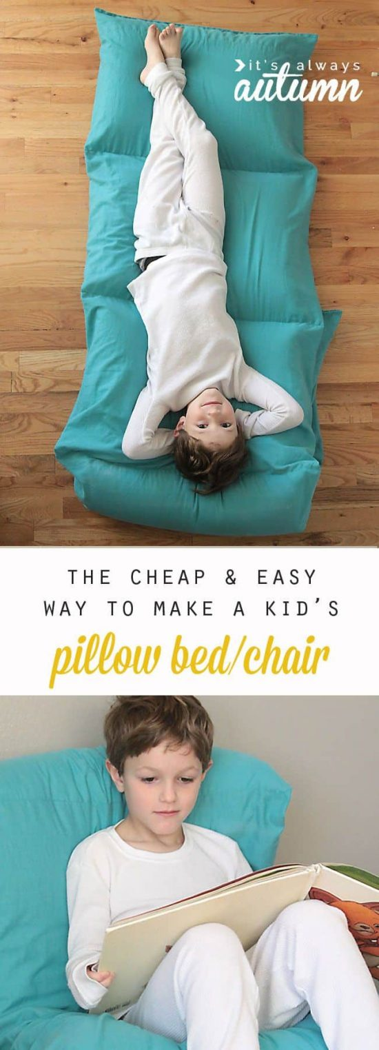 Diy floor pillow bed easy to follow video instructions pillow bed and chair tutorial solutioingenieria Gallery