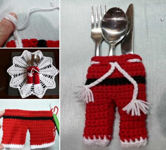 Santa Pants Cutlery Holder Free Pattern