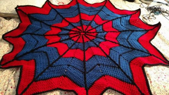 Spiderman knitted blanket