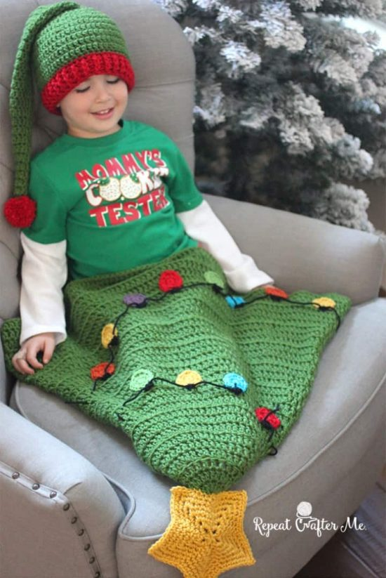 Christmas Tree Tail Crochet Blanket Free Pattern