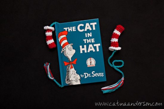 Dr Seuss Cat in the Hat Bookmark FREE Crochet Pattern