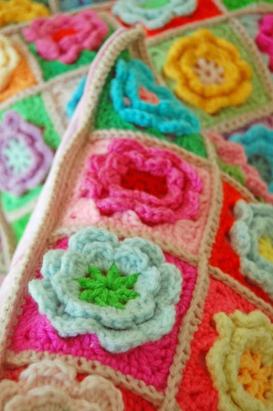 Crochet 3D Flowers Free Pattern
