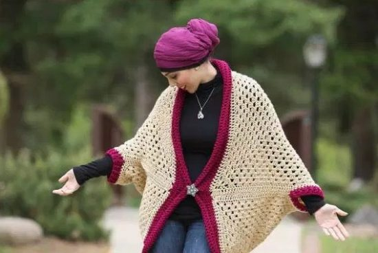 Crochet Granny Sqaure Cocoon Shrug Free Pattern