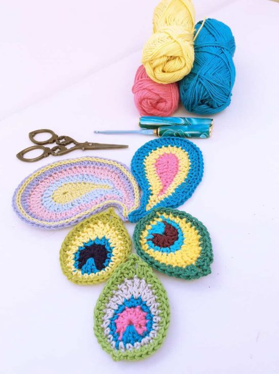 Crochet Peacock Applique Free Pattern