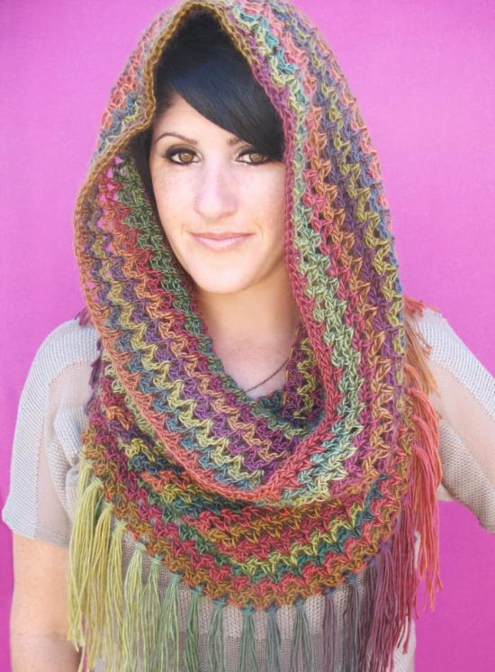 Fringed Cowl Crochet Free Pattern