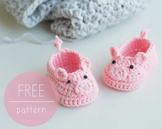 Pig Booties Free Crochet Pattern
