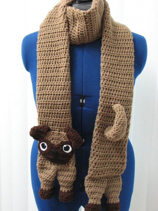 Pug Dog Scarf Crochet Pattern