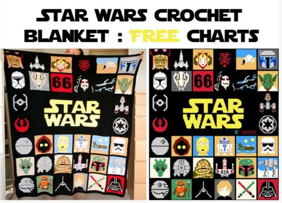 Star Wars Crochet Blanket Free Charts - lots of Star Wars Free Crochet Patterns on our site
