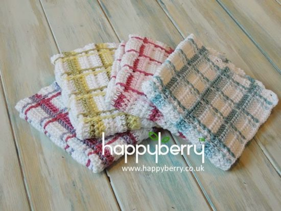 Tartan Plaid Wash Cloths Free Crochet Pattern