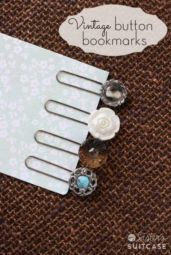 Vintage Button Bookmarks