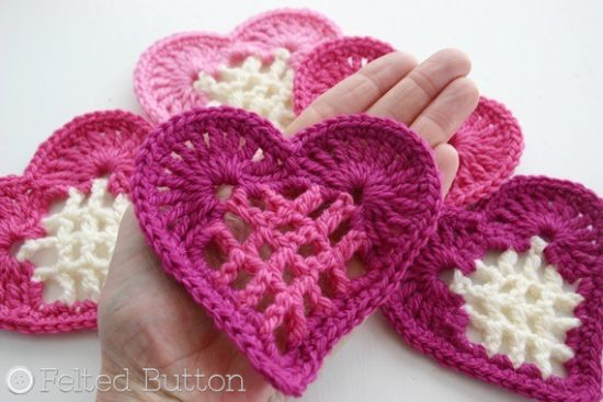 Crochet Heart Motif Pattern Free Video