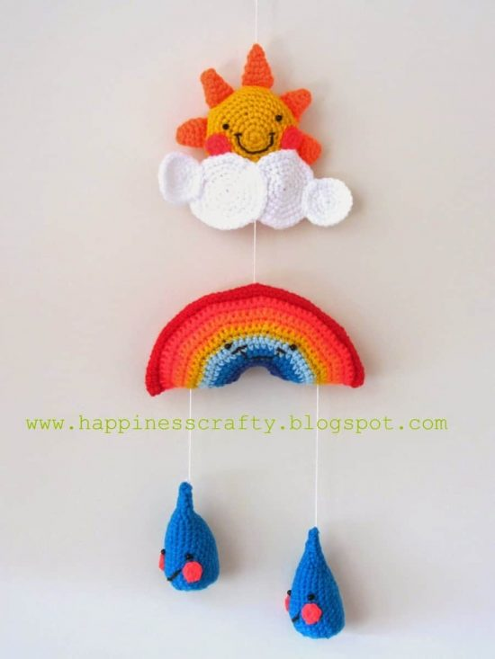 Crochet Baby Rainbow Mobile
