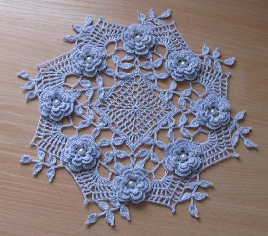 Crochet Rose Doily Free Pattern