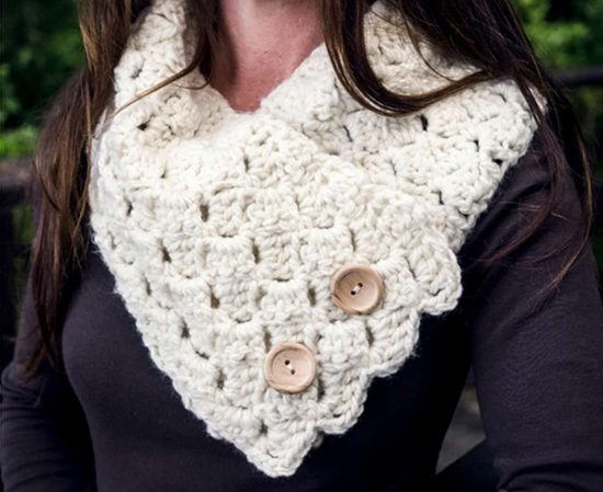 Cross Hatch Button Up Cowl Free Crochet Pattern