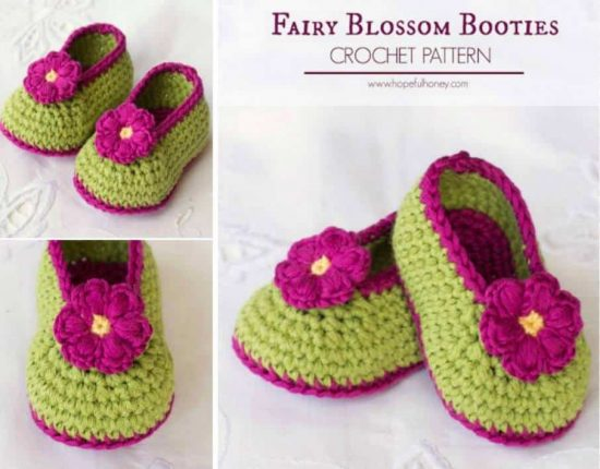 Fairy Blossom Crochet Booties Free Pattern