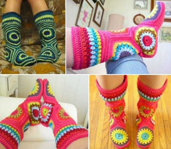Hexagon Granny Square Slipper Boots FREE Crochet Pattern