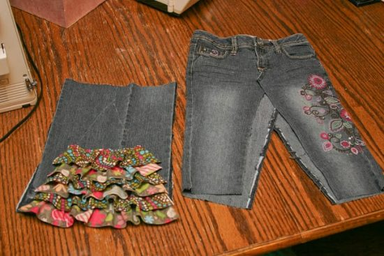 Jeans into Skirt Upcycle
