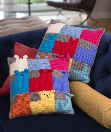 Kittens and Puppies Pillow Free Crochet Pattern