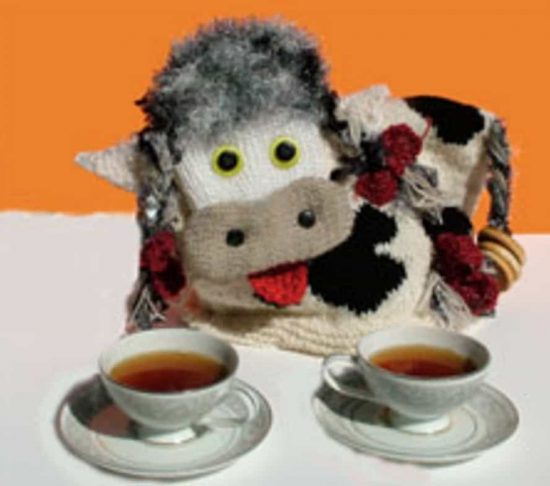 Lizzy the Cow Knitted Tea Cozy Free Pattern