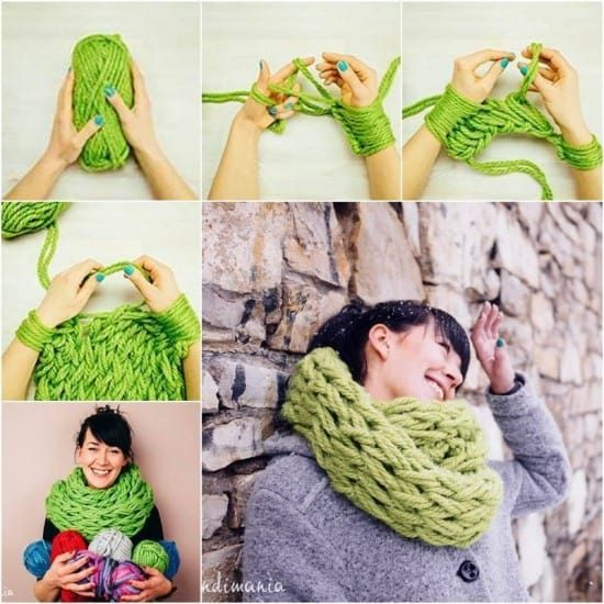 Arm Knit Scarf Step By Step Tutorial