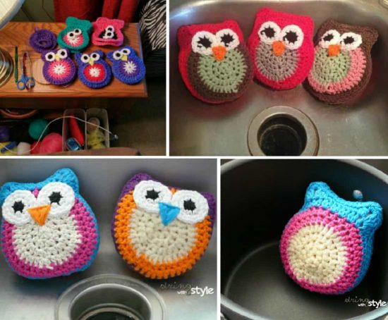 Crochet Owl Scrubbies Free Pattern