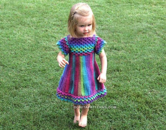 Crocodile Stitch Toddler Dress Crochet Pattern