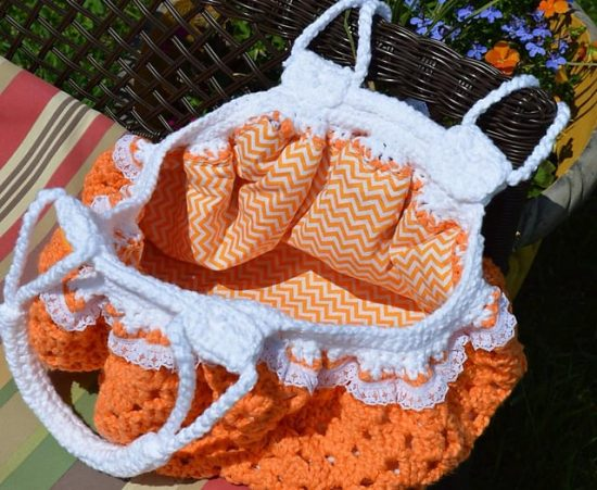Fatbottom Crochet Granny Square Bag Inside View Free Pattern