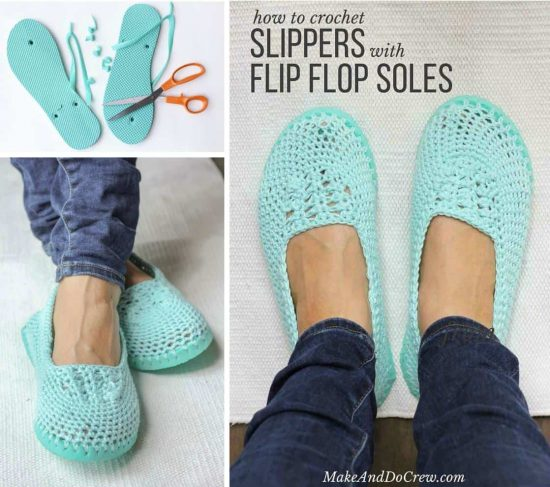 How To Crochet Slippers With Flip Flop Soles