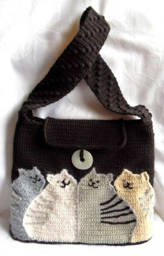 Knitted Bag 'Cats' Free Pattern