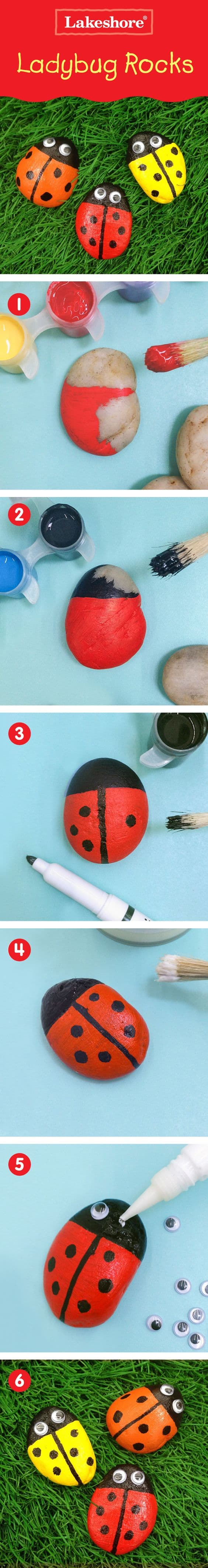 Ladybug Painted Rocks Tutorial