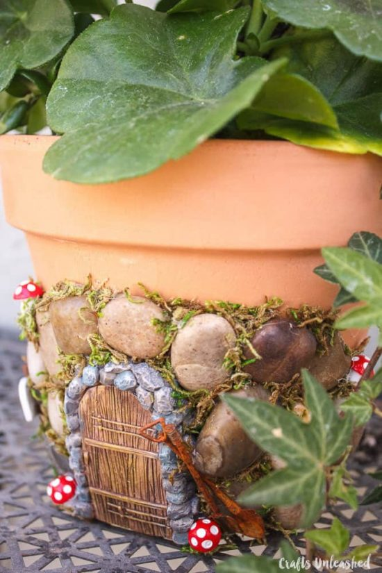 Fairy door clay pot planter is an easy diy the whoot How to make a fairy door out of clay