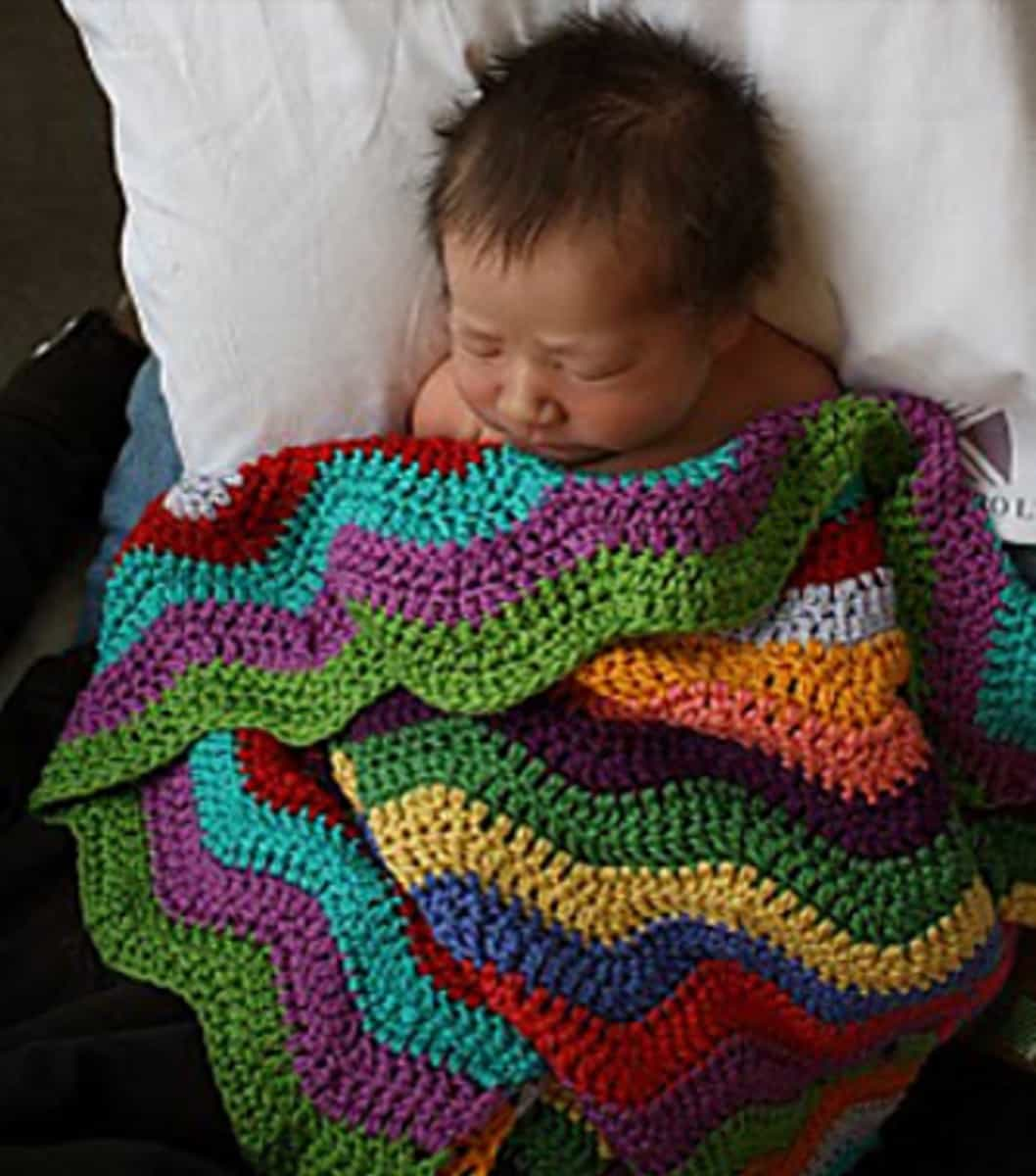 Rainbow Ripple Crochet Blanket Free Pattern