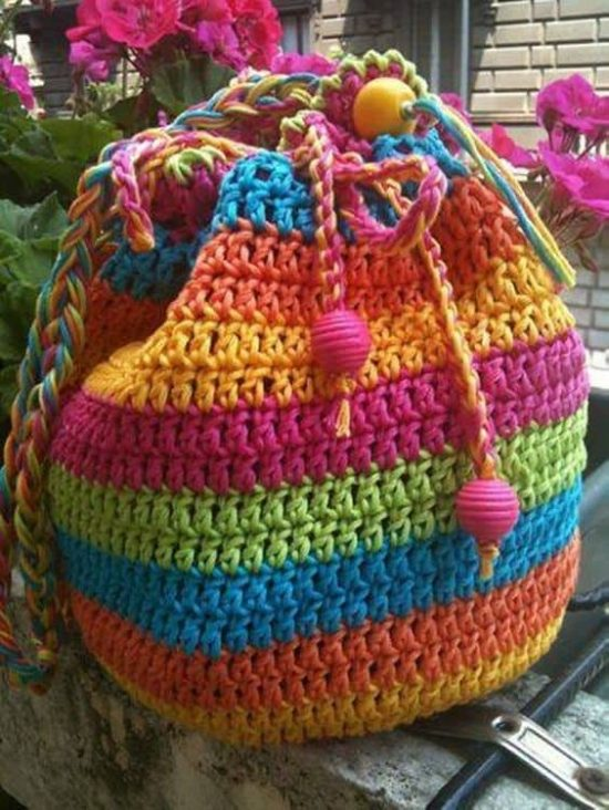 Rainbow Striped Draw String Crochet Bag